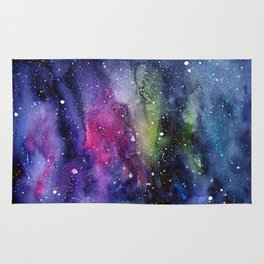 Galaxy Watercolor Night Sky Painting Nebula Art Rug