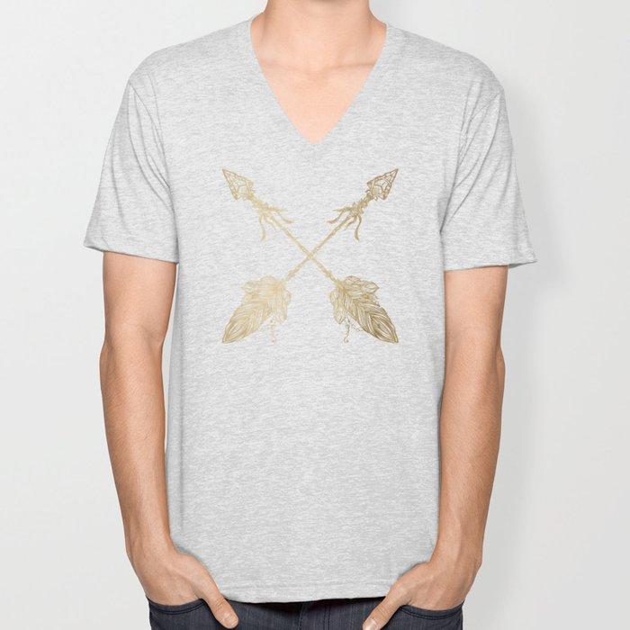 Gold Arrows on Black Unisex V-Neck