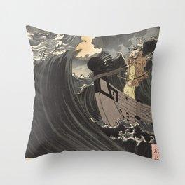 Tsukioka Yoshitoshi - Moon above the sea Throw Pillow