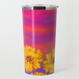 Yellow Floral Sunset Travel Mug