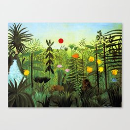 """Henri Rousseau """"Exotic Landscape with Lion and Lioness in Africa"""", 1903-1910 Canvas Print"""