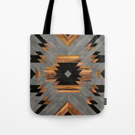 Urban Tribal Pattern 6 - Aztec - Concrete and Wood Tote Bag