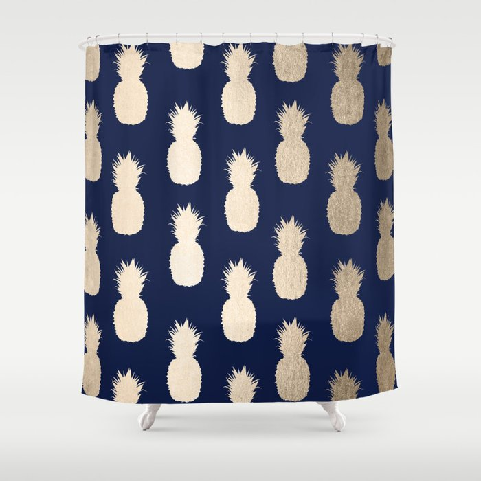 Gold Pineapple Pattern Navy Blue Shower Curtain by followmeinstead ...