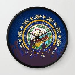 New Hampshire State Flag with Audience Wall Clock