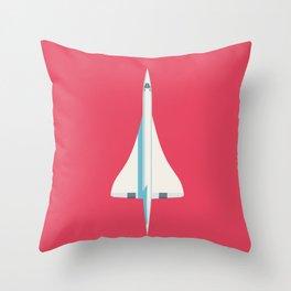 Concorde Supersonic Jet Airliner - Crimson Throw Pillow