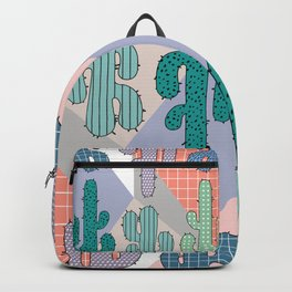 80s Retro Cactus Geometric Pattern Backpack