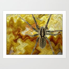 Spider on painterly background Art Print