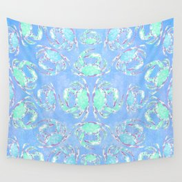 Watercolor blue crab Wall Tapestry