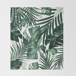 Tropical Jungle Leaves Pattern #4 #tropical #decor #art #society6 Throw Blanket