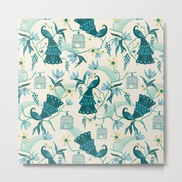 Aviary - Cream Metal Print