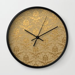 Gold Metallic Damask Beige Wall Clock