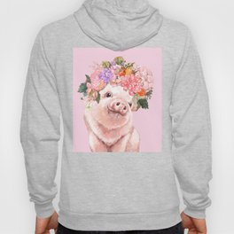 Baby Pig with Flowers Crown Hoody
