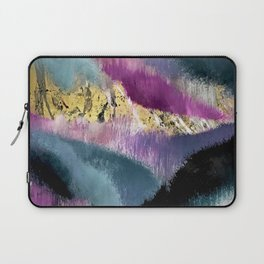 Gemini: a vibrant, colorful abstract piece in gold, purple, blue, black, and white Laptop Sleeve