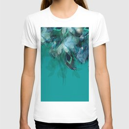 DREAMY FEATHERS & LEAVES - Deep Cyan T-shirt