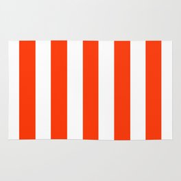 Electric orange - solid color - white vertical lines pattern Rug