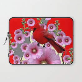 MODERN  RED ART PINK HOLLYHOCKS & RED CARDINAL BIRD Laptop Sleeve