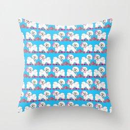 Bichon Frise Floral Throw Pillow