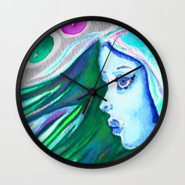 The blue haired girl Wall Clock