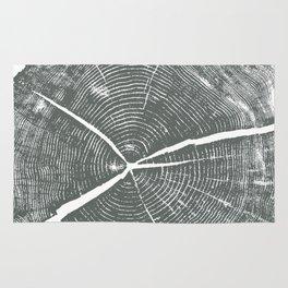 Locust Tree ring image, woodcut print Rug