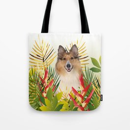 Collie Dog sitting in Garden Tote Bag