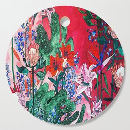 Ruby Red Floral Jungle Cutting Board