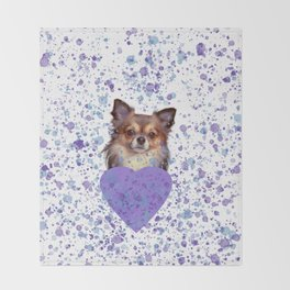 Watercolor Ultra Violet Splattering Dog Lovers Throw Blanket