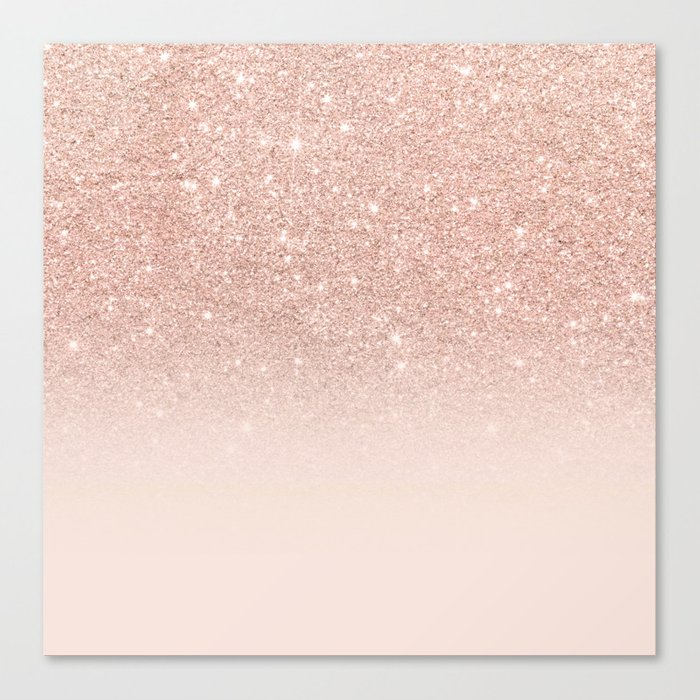 Rose gold faux glitter pink ombre color block canvas print