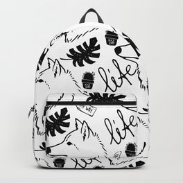 Black white hand drawn wolf floral typography Backpack