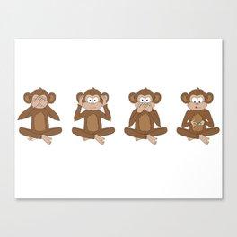 Four Wise Monkeys Canvas Print
