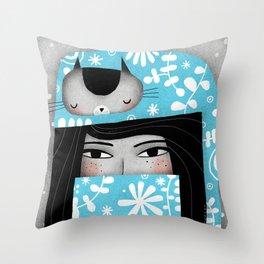 WINTER CAT HAT Throw Pillow