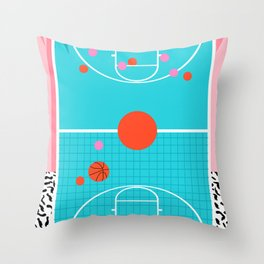 Hoops - throwback retro 80s basketball sports athlete neon 1980's memphis style art Throw Pillow