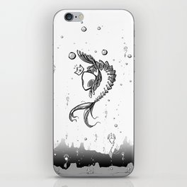 King Fish - Black and White Underwater Fish Bones King Illustration iPhone Skin