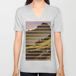 Landscape pattern (with pink touches) Unisex V-Neck