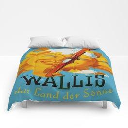 Wallis - Valais Switzerland - German Travel Poster Comforters