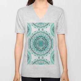 Supernova-In Teal, Aqua, & Mint Unisex V-Neck