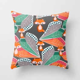 Summer fun with foxes and leaves Throw Pillow