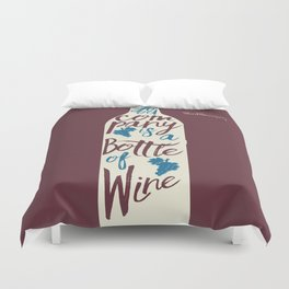 Hemingway quote on Wine and Good Company, fun inspiration & motivation, handwritten typography Duvet Cover