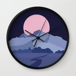 Pink moon abstract night landscape Wall Clock