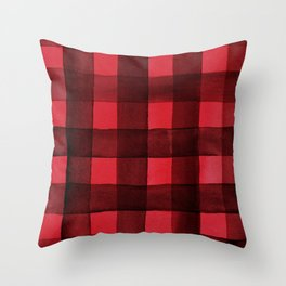 Buffalo Plaid Watercolor in Red Throw Pillow
