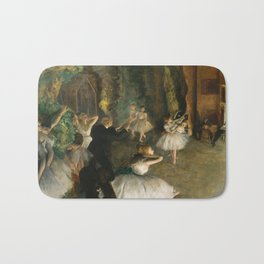 The Rehearsal of the Ballet Onstage - Degas Bath Mat