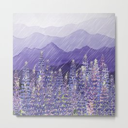 Purple Mountain Rain Metal Print
