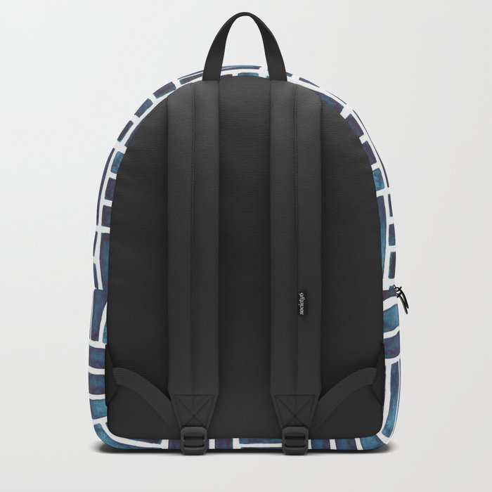 Navy Watercolour Rectangles Backpack