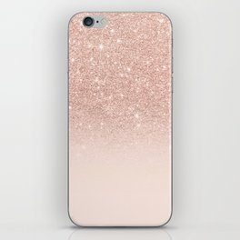 Rose gold faux glitter pink ombre color block iPhone Skin