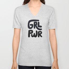 Grl Pwr black and white Unisex V-Neck