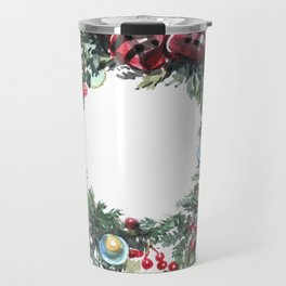 Christmas wreath of happiness Travel Mug