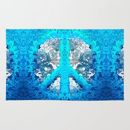 Abstract Blue Peace Sign Rug