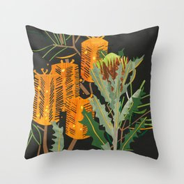 Hairpin Banksia Throw Pillow