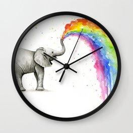 Baby Elephant Rainbow Spraying Cute Whimsical Animals Wall Clock