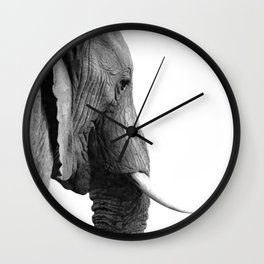 Black and white elephant portrait Wall Clock