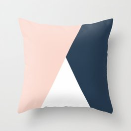 Elegant blush pink & navy blue geometric triangles Throw Pillow